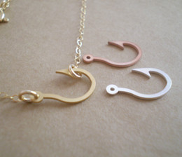 30PCS- N002 Gold Silver Maori Awaiian Fish Hook Necklace Captain Hook Necklace Crafts Fishhook Necklace fishing Hook Necklaces