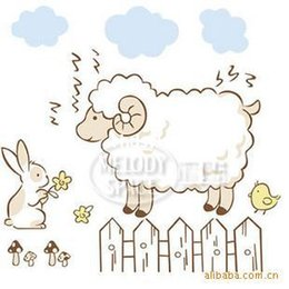 Wholesale Sheep Wall Decor - 10 pcs home decor Q edition sticker wholesale cartoon sheep cartoon stickers wall stickers children bedroom background wall can be moved wit