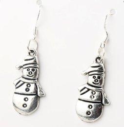 Wholesale MIC x41 mm Tibetan Silver Snowman Standing With Hat Scarves Charm Pendant Earrings Silver Fish Ear Hook E772