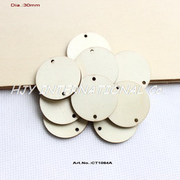 Promotion trous bois Gros- (150pcs / lot) 2 trous suspendus cercle autour inachevée disques en bois fournitures découpages artisanat du bois 1 1/4