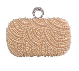 Wholesale-2016 single side pearls evening bags luxury finger rings beaded clutch bolsas wedding clutches party purse chian handbag