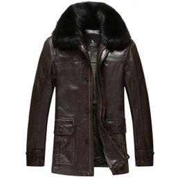 Wholesale Fall News Brand leather jackets mens fur coat Imitation sheepskin coats leather pilot jacket Fur collar