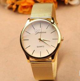 Wholesale Gold geneva Watch Full Stainless Steel Woman Fashion Dress Watches New Brand Name Geneva Quartz Watch Best Quality G