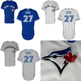 Wholesale 2016 Toronto Blue Jays Jersey Brett Cecil Jersey White Grey Blue Cool Stitched Baseball Jersey Embroidery Logo size S XL