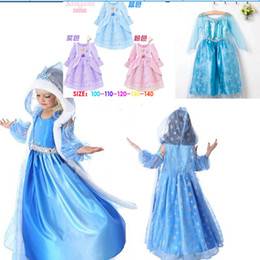 Wholesale Frozen dress costumes long sleeve skirt Princess Elsa party wear clothing Crown Magic Wand sticks for Halloween Saints Day Christmas gift