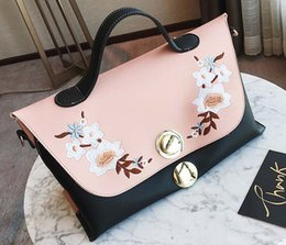 new handbag large bag European and American embroidery hit color casual shoulder Messenger bag large capacity handbags