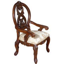 Wholesale Export the original single American country furniture carved wood chairs leisure chairs armrest leather seats