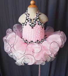 Wholesale Pink Toddler Pageant Dresses Little Girls Halter Glitz Pageant Dress Rhinestone Crystal Kids Formal Wear Christmas Brithday Gift Gowns