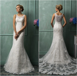 Wholesale Amelia Sposa Mermaid Wedding Dresses Vintage Bateau Neck Lace Appliqued Sheer Back Tulle Court Train Church Bridal Gowns
