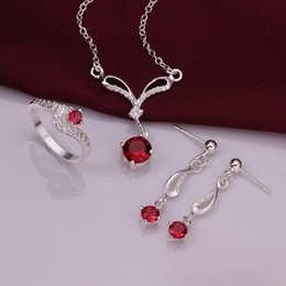 Wedding Ring 925 Sterling Silver Sparkly Red Zircon Necklace Earrings Rings Jewelry set