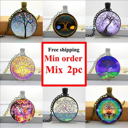 NS--00645 Glass Necklace Tree of Life Necklace Tree of Life Jewelry Glass Art Picture Necklace