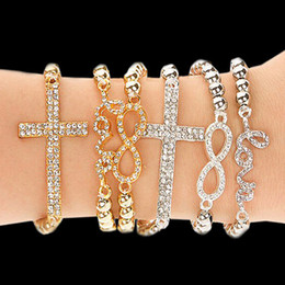 Fashion Jewelry 2018 HOT Selling Newly Gold Plated Crystal Charms Bracelets For Women Resilience Infinity Bracelets Wholesaler 30pcs lot