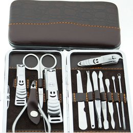 Wholesale Nail Care Set Pedicure Scissor Tweezer Knife Ear pick Utility Manicure Set Tool Stone Pattern Case Set Nail Clipper Kit