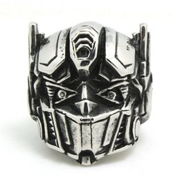 1pc Fashion USA Movie Robot Ring 316L Stainless Steel Man Boy Band Party New Jewelry Top Popular Cool Robot Ring