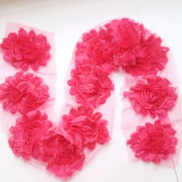 Wholesale 3 quot mixed chic frayed chiffon shabby flower shabby chiffon rose flower yards COLORS BY DHL