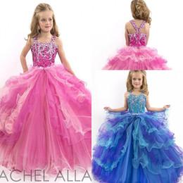 Purple blue pink Bling Bling Crystal Sequined Luxury Girls Pageant Dresses Custom Designer Cascading Ruffle Flower Girl Gowns For WeddingLH