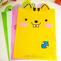 Wholesale Freeshipping korea stationery rabbit cartoon animal big ears transparent a4 file bag kit WE