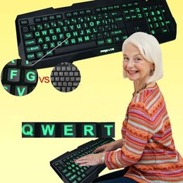 Wholesale Large Print Tri Color Illuminated Backlit USB Keyboard Big Fonts for PC Laptop