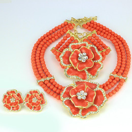 Wholesale 2016 Fashion Africa nigerian Orange Blue Red Bead jewelery sets K Gold Plated Flower Crystal Necklace Jewelry Popular Prom wedding jewelry