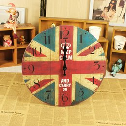 Wholesale Fashion mute fashion picture frame clock word flag antique wooden wall clock home wall decoration