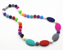Children Silicone Teething Necklace with colorful Heart beads chew silicone necklace for baby