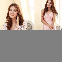 Wholesale New Women Sleepwear Silk Lace Dressing Gown Bath Robe Babydoll Lingerie UK Size