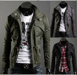 2014 autumn men's jacket black man Coats Korean Slim thin section for business and leisure Outerwear