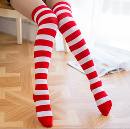 Japanese and Korean wind socks COSPLAY animation female stockings Halloween socks blue white wide strip socks Packaged sales