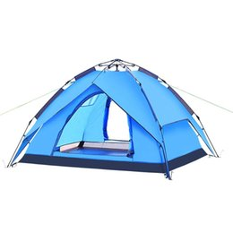 Wholesale Double Layer Hydraulic Automatic Camping Tents Quick opening Tent Tourist Blue and Ary Green