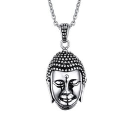 2015 Newest XMAS'S Gift Men's Charming Buddhist Religious beliefs Buddha's head Pendant 316L Stainless Steel Necklace 20'' Chain