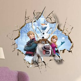 Wholesale Frozen Wall Stickers Cartoon Anna Olaf Hans Decals Home Decorations Children Gifts in stock