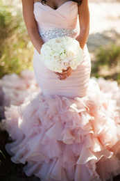 Colored Pink Mermaid Bridal Wedding Dresses Gowns 2015 Custom Made Romantic Real Image Sweetheart Crystal Ruched Bridal Gowns Vestidos