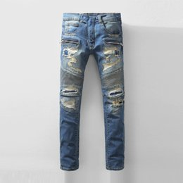 Wholesale 2016 Mens Balmian Jeans Knee Drape Panel Moto Biker Denim Jeans Men s Jeans Balmain runway locomotive Distrressed Jeans Skinny Jeans