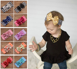 Wholesale New Fashion girls Bow headbands baby sequins bowknot headband girls Striped cotton headbands Handmade baby Accessories colors cm E167
