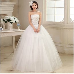 2015 new arrival white fashionable ball gown strapless floor-length tulle stain wedding dress with crystal