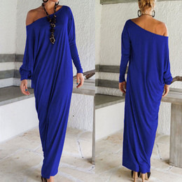 Wholesale-Womens Maxi Long Dress Long Sleeve Casual Sexy Fall Full Sleeve Loose Wrap Oversize Irregular Elegant Party Dresses vestidos