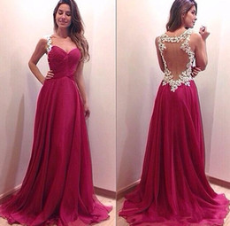2015 Evening Dresses Backless Wedding Party Dresses Cheap Dresses Evening Wear Sweetheart Dark Red Evening Gowns with Ivory Appliques