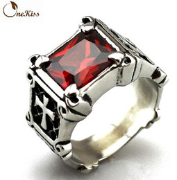 Free Shipping Fine Fashion Personality Complex , Ancient Cross Ruby silver Rings Rings For Men And Women Couples Jewelry