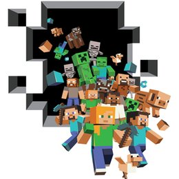 Wholesale 3D Walls Minecraft Wall Stickers Creeper Decorative Wall Decal Cartoon Wallpaper Kids Party Decoration Christmas Wall Art Exclusive Sale