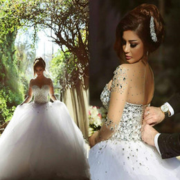 Wholesale Simple Flower Sash - 2016 Wedding Dresses Real Image Luxury Crystal Bridal Gowns With Beads Sheer Illusion Crew Neck Long Sleeves Plus Size Floor Length Tulle