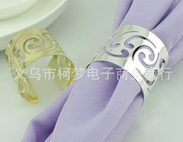 Wholesale New Arrive Elegant Hollow Napkin Rings silver Pierced lace Metal Ring wedding napkin holder Wedding table decoration Supplies