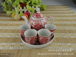 Chinese Red King cup creative wedding ceramic teapot tea sets wedding gift wedding gift