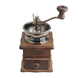 Wholesale Mini Manual Coffee Mill Wood Stand Bowl Antique Hand Coffee Bean Grinder S7NF A3