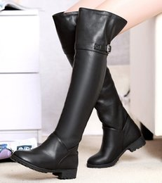Wholesale new Fashion PU Leather female Boot women motor long boots over knee street boots shoes