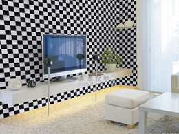 Black and white plaid mosaic wallpaper modern tv background wall personality shoes clothes ktv wallpaper 0.53MX10M