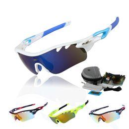 2017 lentes polarizadas Gafas de sol polarizadas al por mayor-Profesionales de los deportes de Radarlock de los anteojos de la bici de los vidrios ULTRAVIOLETA 400 con 5 lente TR90 STS801 4 colores económico lentes polarizadas