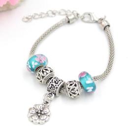 New Arrival Charm Bracelet European Style Flower Lampwork Murano Glass Beads Poppy Flower Charm Bracelets Gift for Mother Birthday