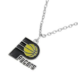 Wholesale Gold Rhodium sport Indiana Pacer team logo link chain charms with enamel plated statement pendant necklaces for a diy jewelry