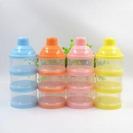 Brand designer baby food storage colorful infant milk box pp three layers baby milk grid hot sale baby milk powder container