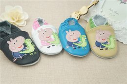 Wholesale 2014 New Baby Peppa pig Walking Shoes Infant Toddler Soft Sole Leather Shoes CM Learning Walk Shoes pair C001